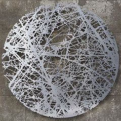 sculpture,wall,stainless steel,inspired by tree,Ian Turnock,