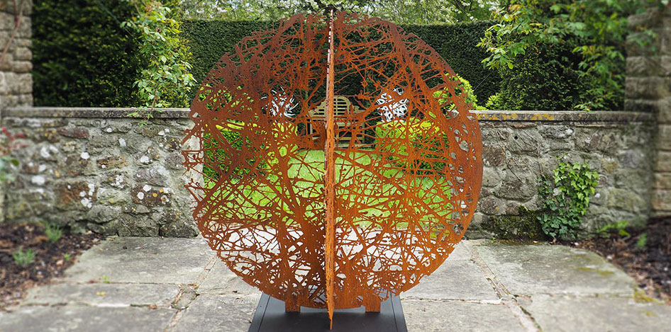 sculpture,garden,lasercut,corten,weathering,steel,inspired by tree,Ian Turnock,